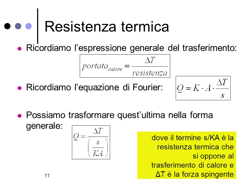 Resistenza termica Ricordiamo l'espressione generale del trasferimento: Ricordiamo l'equazione di Fourier: