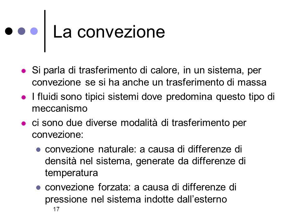 La convezione Si parla di trasferimento di calore, in un sistema, per convezione se si ha anche un trasferimento di massa.