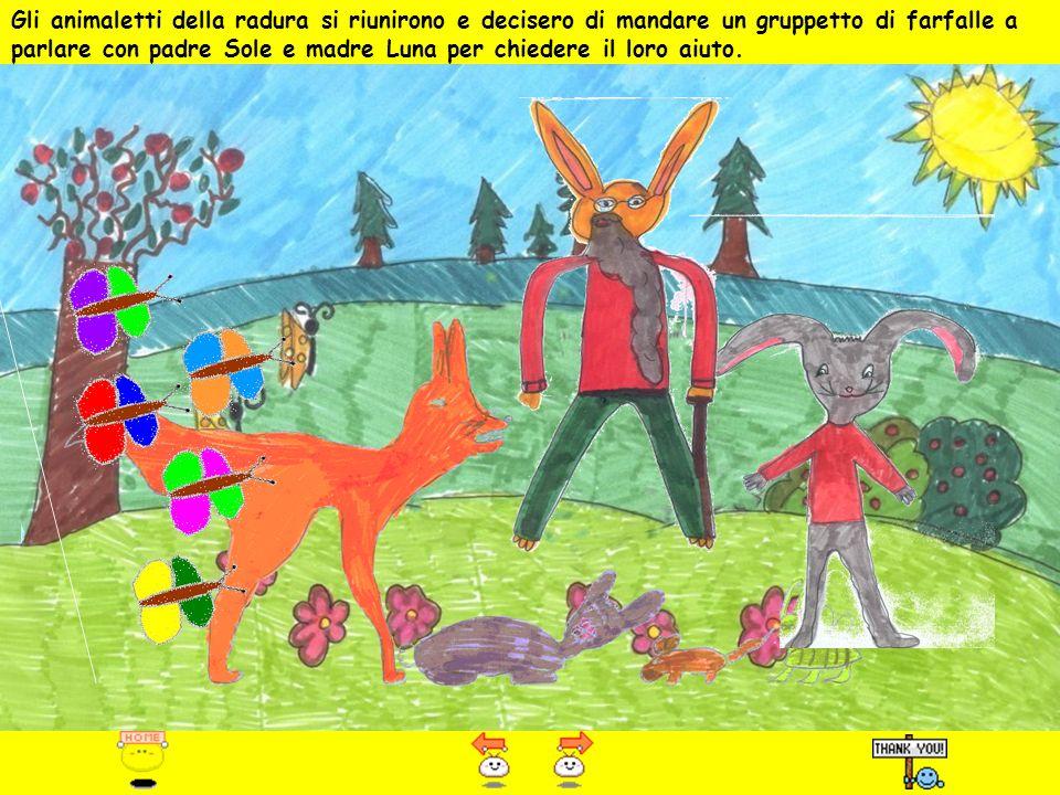 Gli animaletti della radura si riunirono e decisero di mandare un gruppetto di farfalle a parlare con padre Sole e madre Luna per chiedere il loro aiuto.