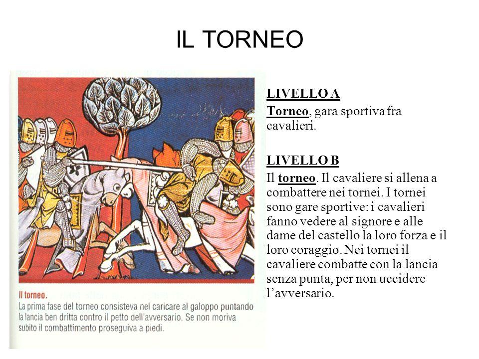 IL TORNEO LIVELLO A Torneo, gara sportiva fra cavalieri. LIVELLO B