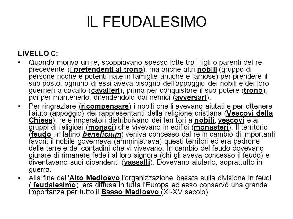 IL FEUDALESIMO LIVELLO C: