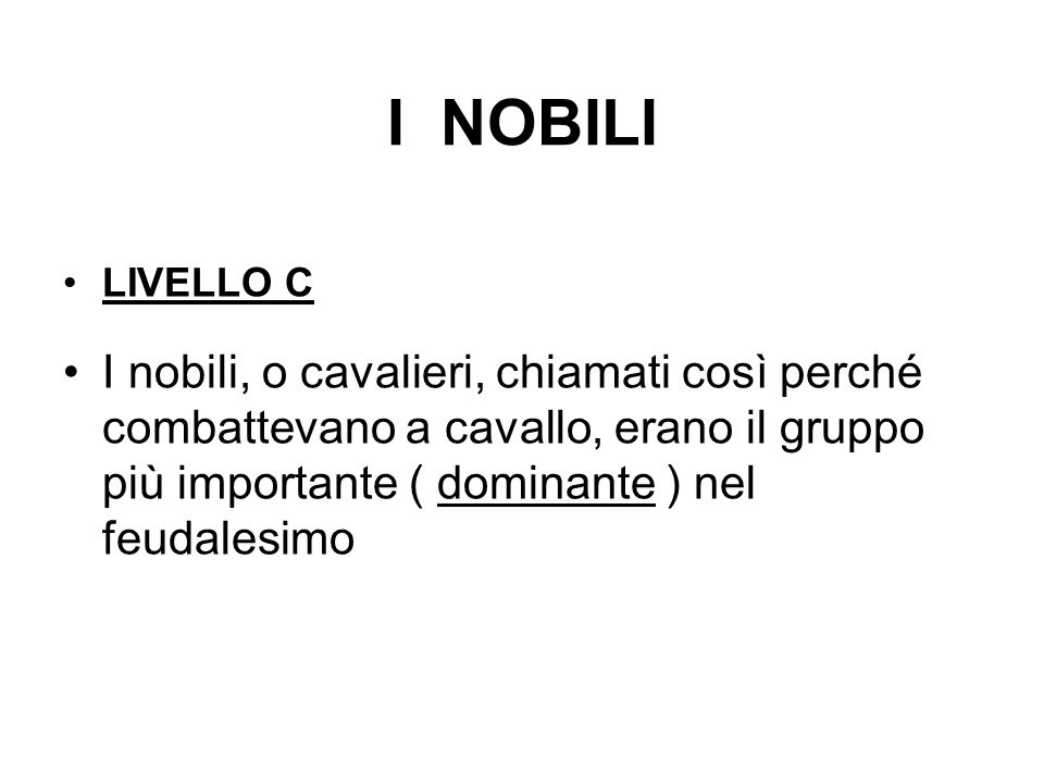 I NOBILILIVELLO C.