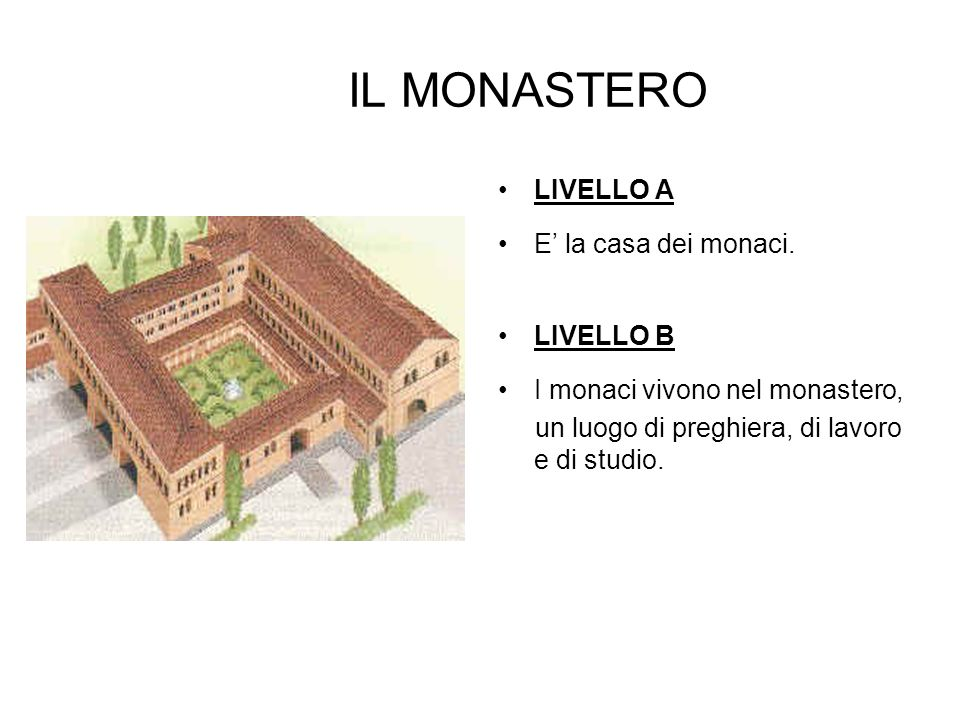 IL MONASTERO LIVELLO A E' la casa dei monaci. LIVELLO B