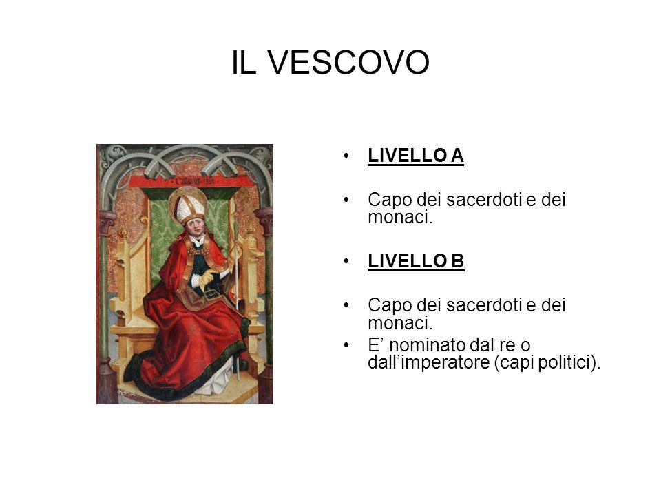 IL VESCOVO LIVELLO A Capo dei sacerdoti e dei monaci. LIVELLO B