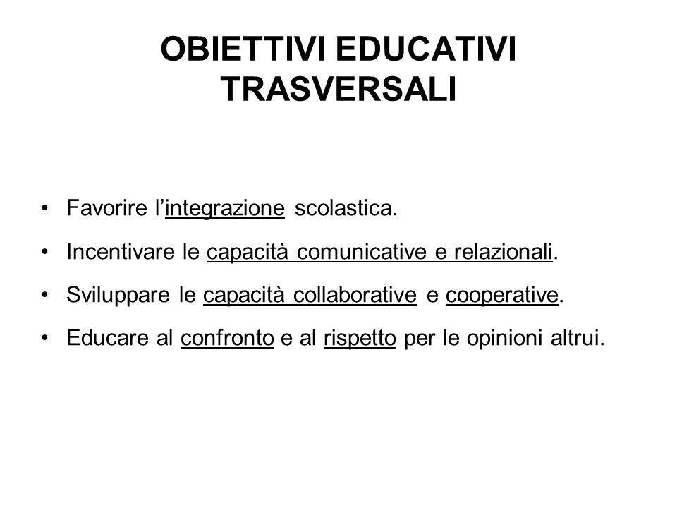 OBIETTIVI EDUCATIVI TRASVERSALI