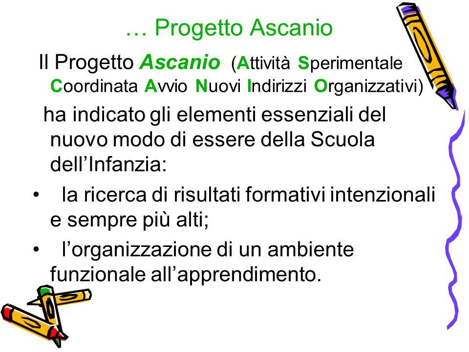 … Progetto Ascanio Il Progetto Ascanio (Attività Sperimentale Coordinata Avvio Nuovi Indirizzi Organizzativi)