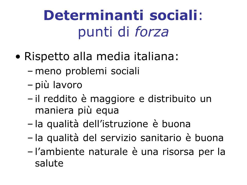 Determinanti sociali: punti di forza