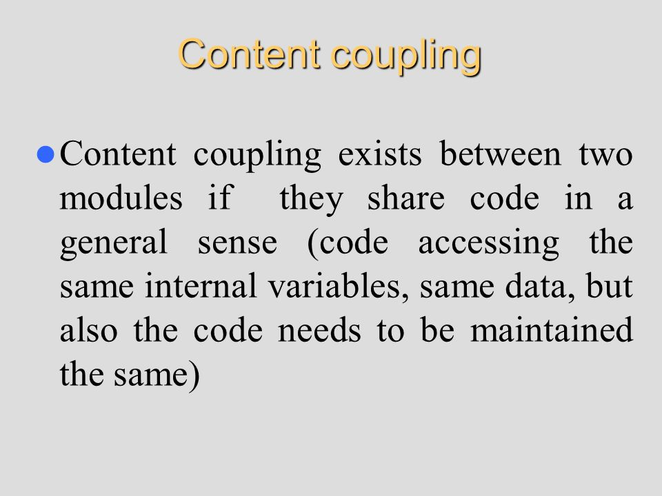 Content coupling