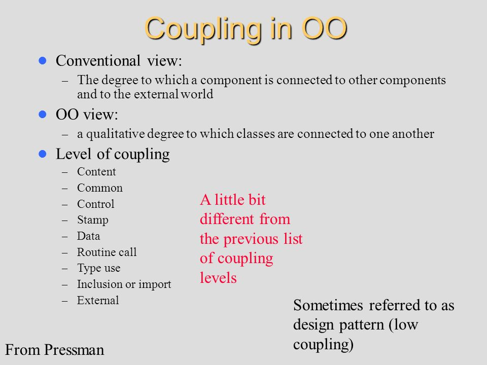 Coupling in OO Conventional view: OO view: Level of coupling