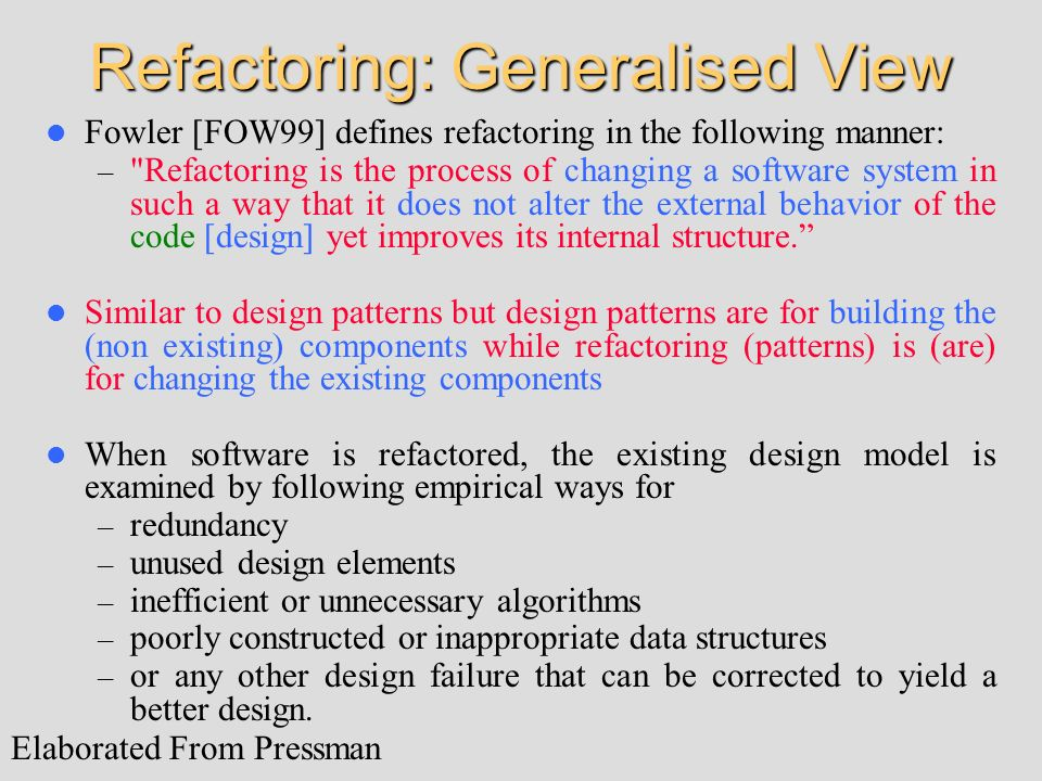 Refactoring: Generalised View