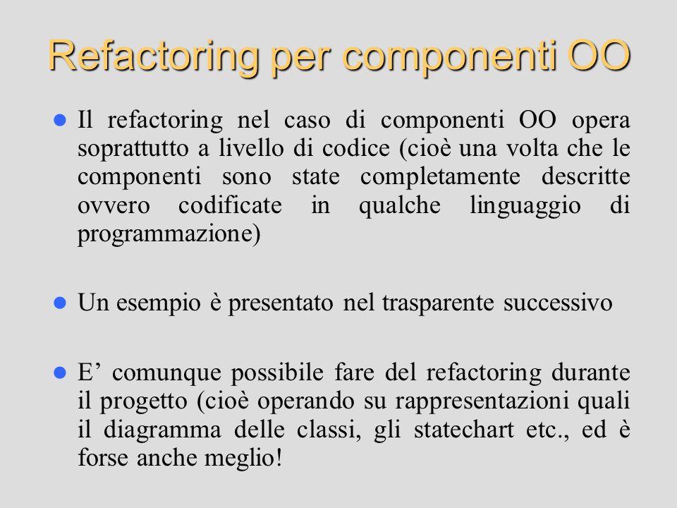 Refactoring per componenti OO