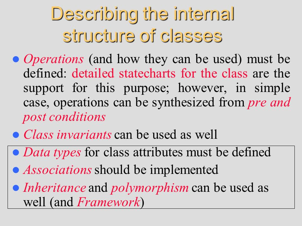 Describing the internal structure of classes