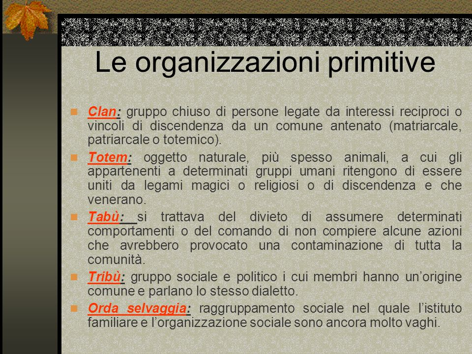 Le organizzazioni primitive