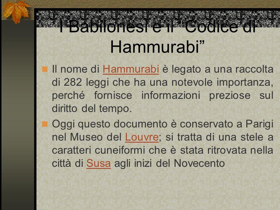I Babilonesi e il Codice di Hammurabi