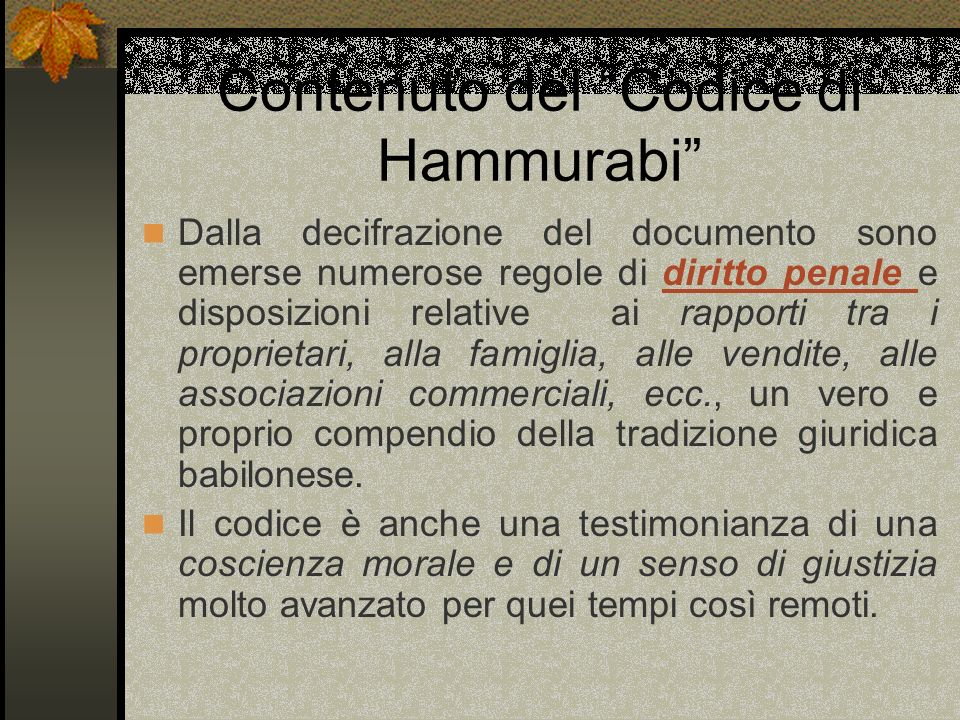 Contenuto del Codice di Hammurabi