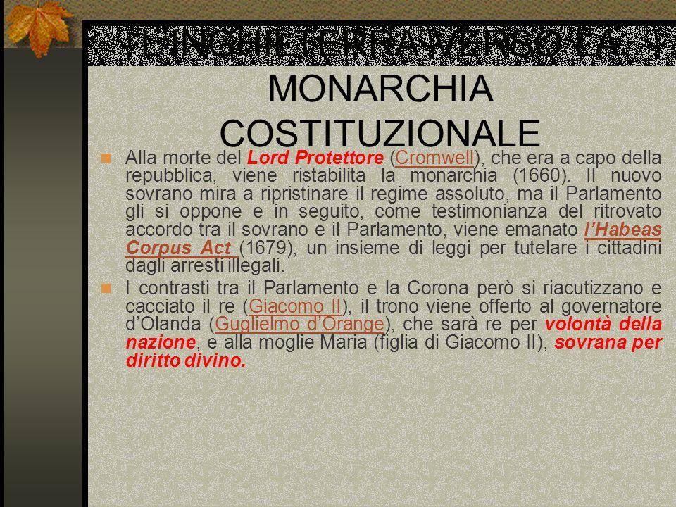 L'INGHILTERRA VERSO LA MONARCHIA COSTITUZIONALE