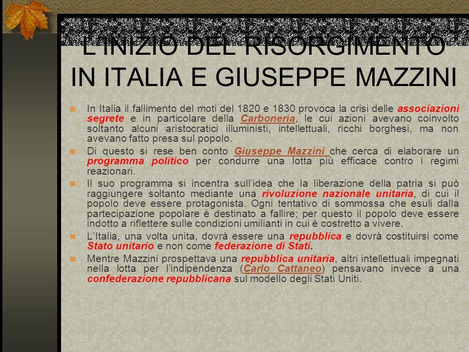 L'INIZIO DEL RISORGIMENTO IN ITALIA E GIUSEPPE MAZZINI