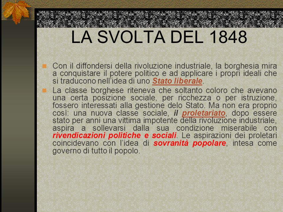 LA SVOLTA DEL 1848