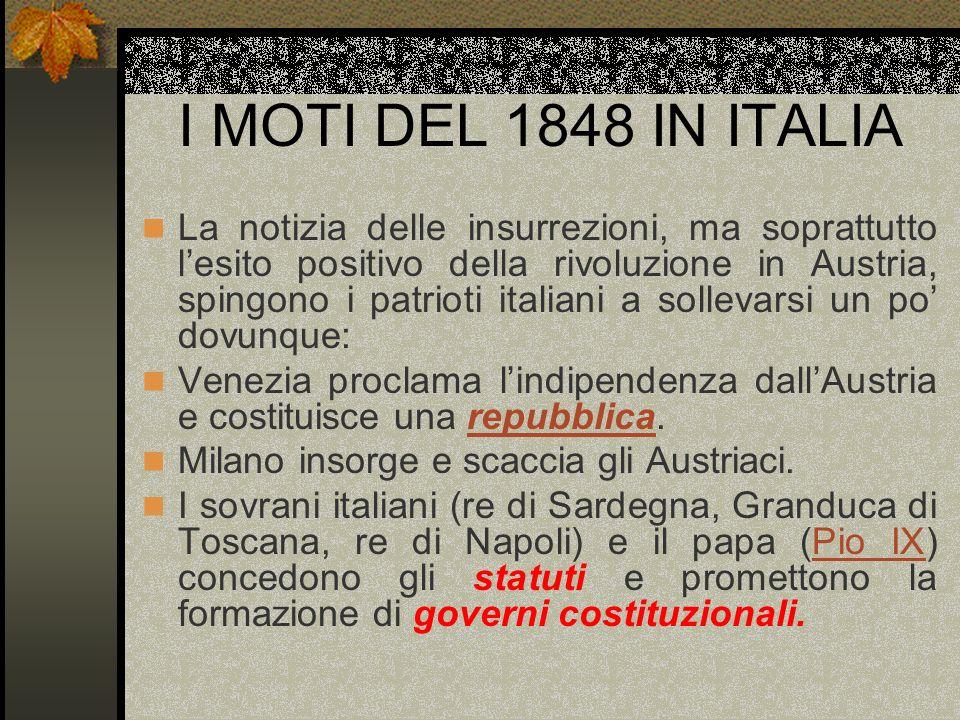 I MOTI DEL 1848 IN ITALIA