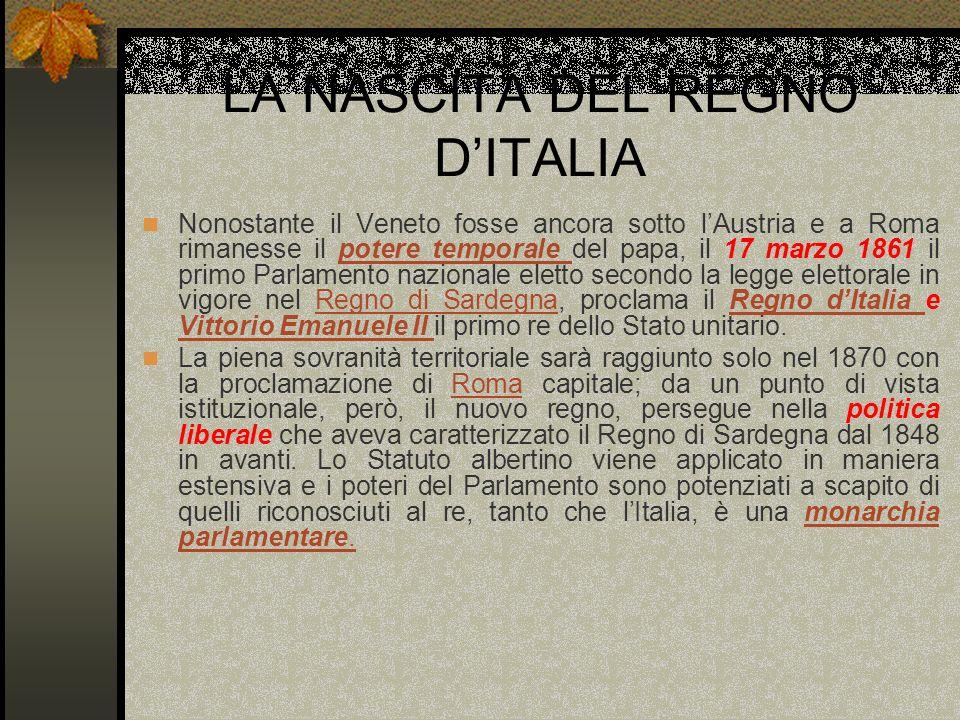 LA NASCITA DEL REGNO D'ITALIA