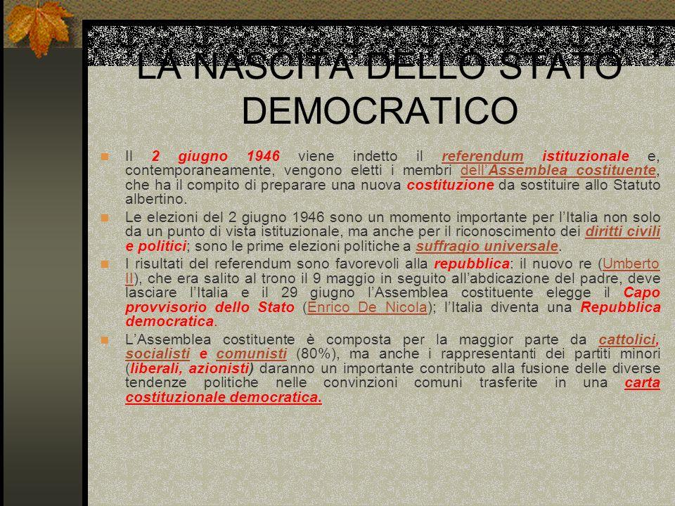 LA NASCITA DELLO STATO DEMOCRATICO