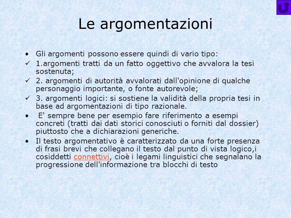 Le argomentazioni Gli argomenti possono essere quindi di vario tipo:
