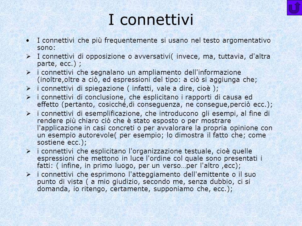 I connettivi I connettivi che più frequentemente si usano nel testo argomentativo sono:
