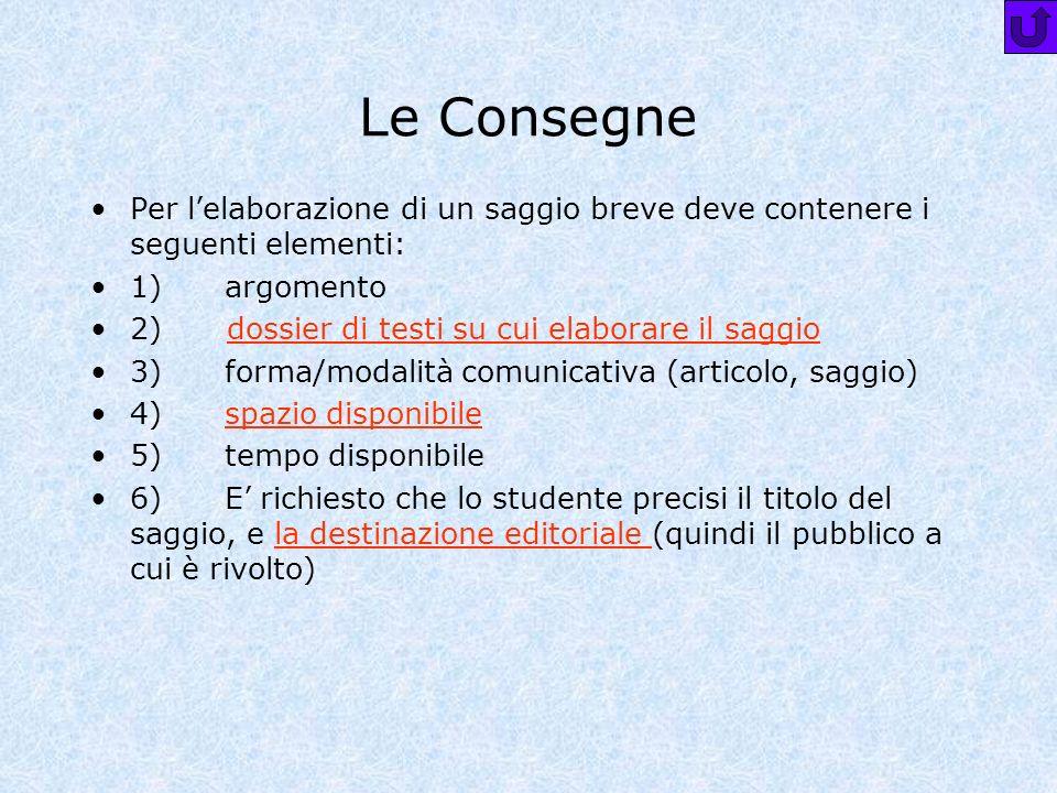 Le Consegne Per l'elaborazione di un saggio breve deve contenere i seguenti elementi: 1) argomento.