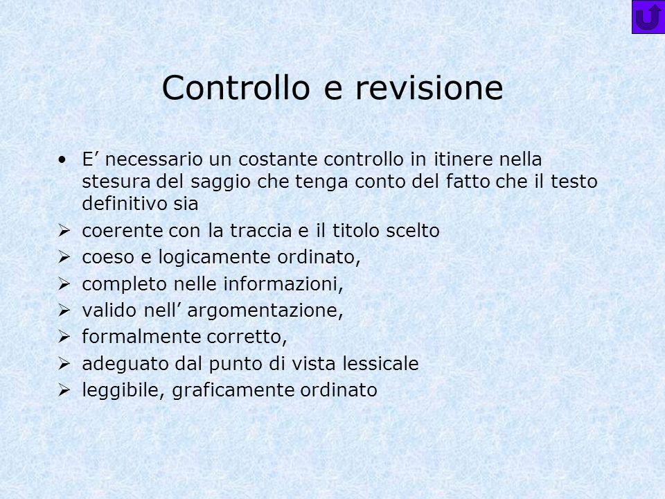 Controllo e revisione E' necessario un costante controllo in itinere nella stesura del saggio che tenga conto del fatto che il testo definitivo sia.