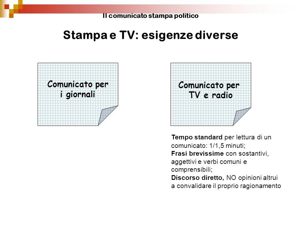 Il comunicato stampa politico Stampa e TV: esigenze diverse