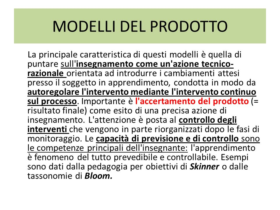 MODELLI DEL PRODOTTO