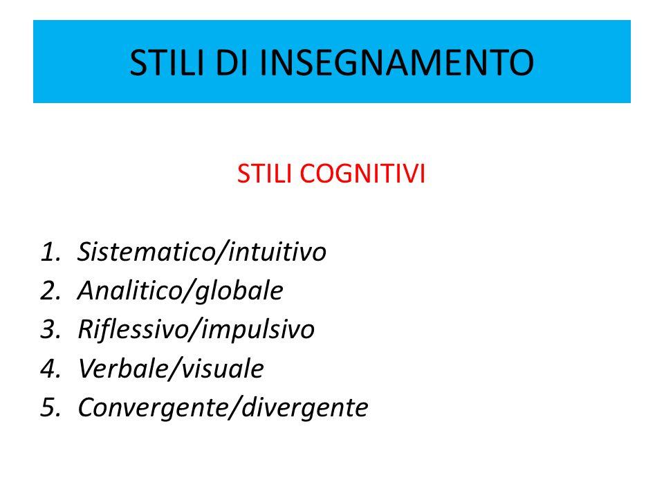 STILI DI INSEGNAMENTO STILI COGNITIVI Sistematico/intuitivo