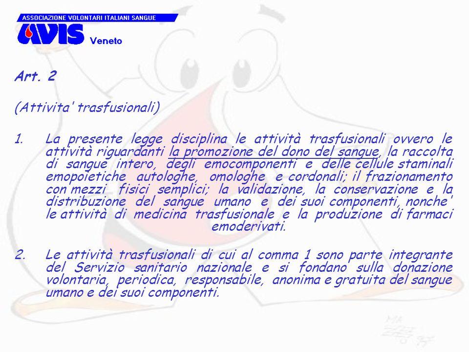 Art. 2(Attivita trasfusionali)