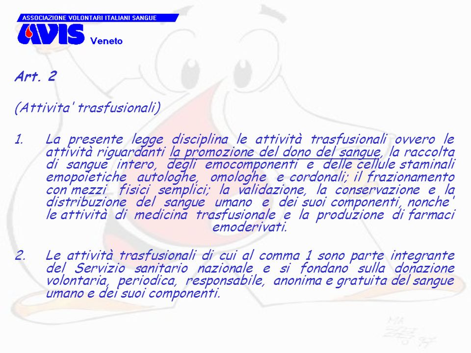 Art. 2 (Attivita trasfusionali)