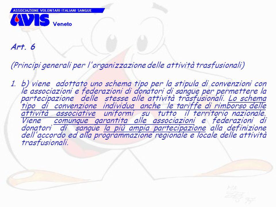 Art. 6 (Principi generali per l organizzazione delle attività trasfusionali)