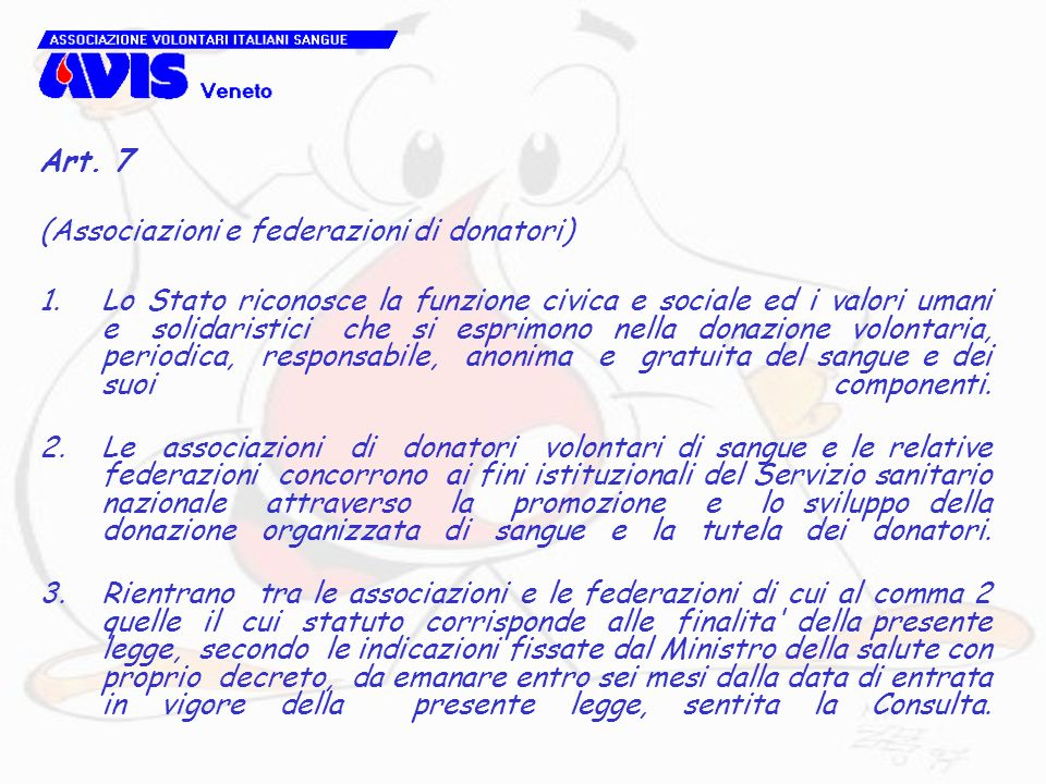 Art. 7(Associazioni e federazioni di donatori)