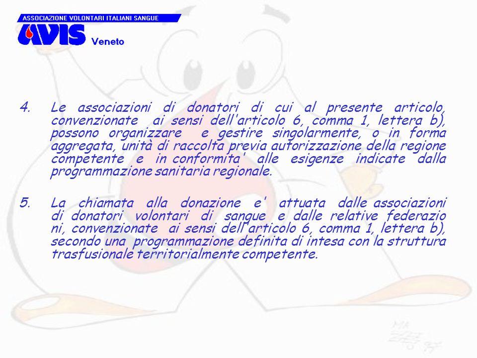 Le associazioni di donatori di cui al presente articolo, convenzionate ai sensi dell articolo 6, comma 1, lettera b), possono organizzare e gestire singolarmente, o in forma aggregata, unità di raccolta previa autorizzazione della regione competente e in conformita alle esigenze indicate dalla programmazione sanitaria regionale.
