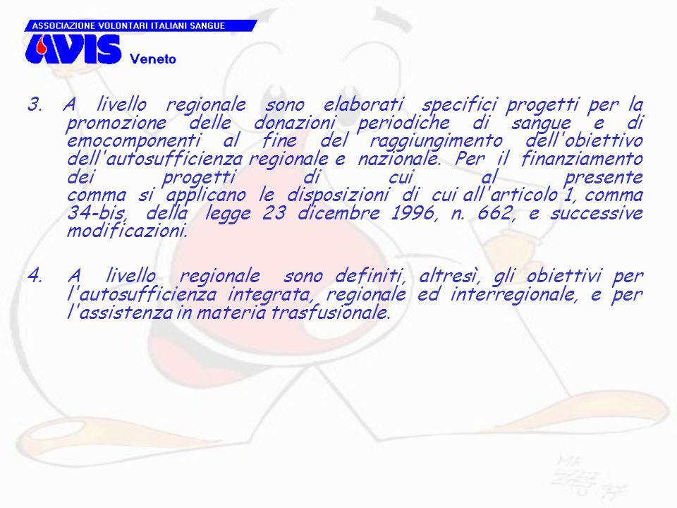 3. A livello regionale sono elaborati specifici progetti per la promozione delle donazioni periodiche di sangue e di emocomponenti al fine del raggiungimento dell obiettivo dell autosufficienza regionale e nazionale. Per il finanziamento dei progetti di cui al presente comma si applicano le disposizioni di cui all articolo 1, comma 34-bis, della legge 23 dicembre 1996, n. 662, e successive modificazioni.