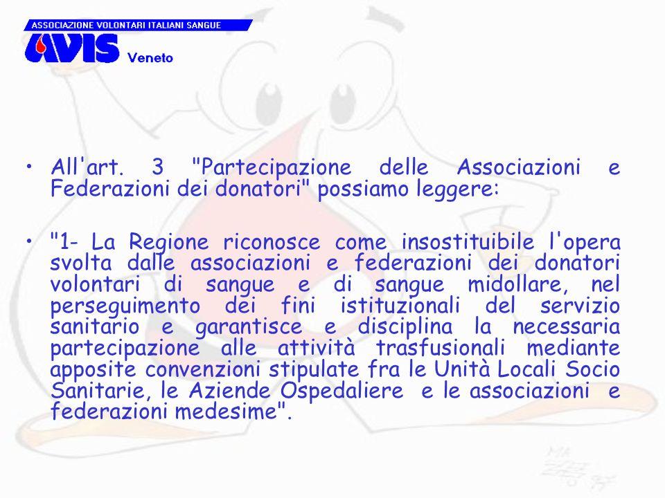 All art. 3 Partecipazione delle Associazioni e Federazioni dei donatori possiamo leggere: