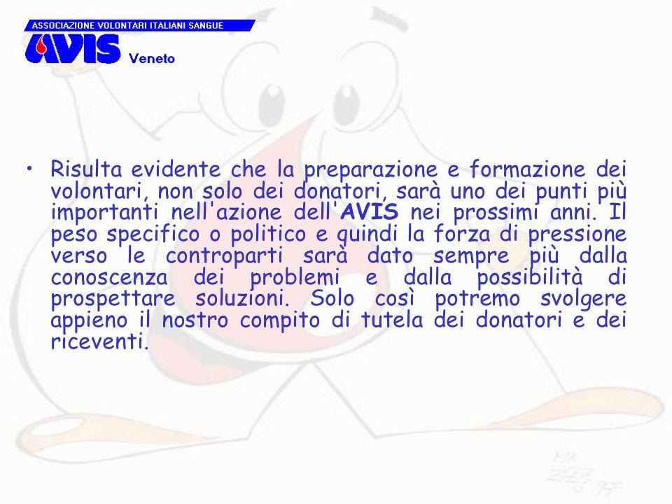 Risulta evidente che la preparazione e formazione dei volontari, non solo dei donatori, sarà uno dei punti più importanti nell azione dell AVIS nei prossimi anni.