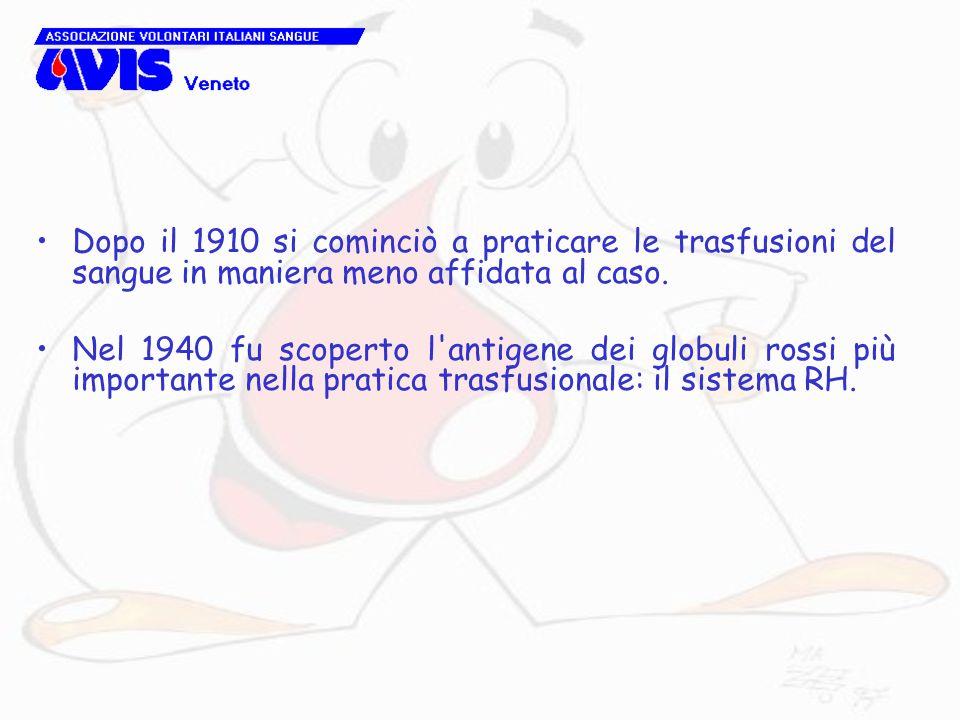 Dopo il 1910 si cominciò a praticare le trasfusioni del sangue in maniera meno affidata al caso.