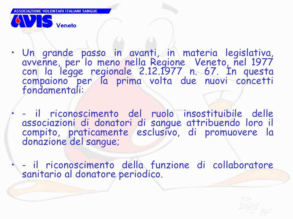 Un grande passo in avanti, in materia legislativa, avvenne, per lo meno nella Regione Veneto, nel 1977 con la legge regionale 2.12.1977 n. 67. In questa compaiono per la prima volta due nuovi concetti fondamentali: