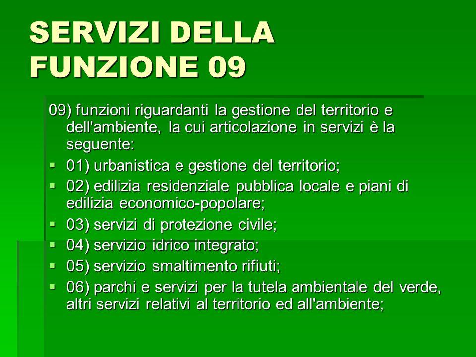 SERVIZI DELLA FUNZIONE 09
