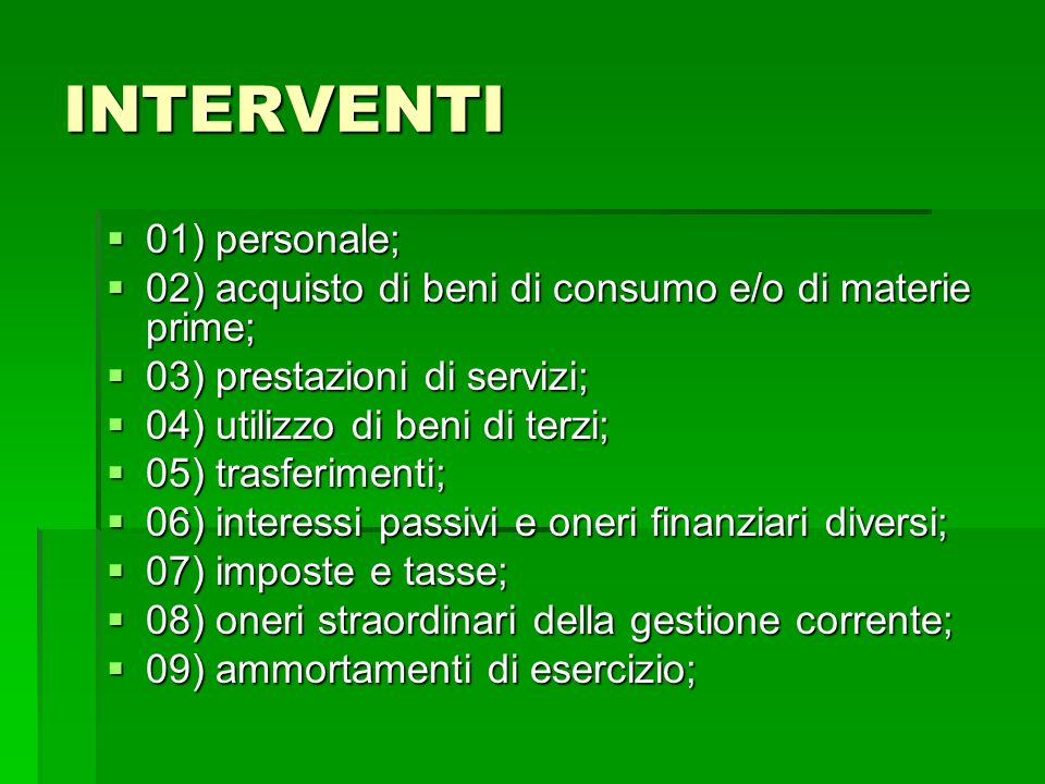 INTERVENTI 01) personale;