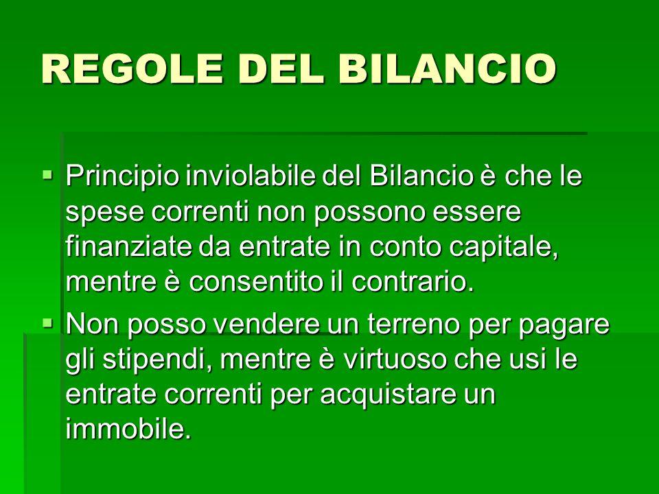 REGOLE DEL BILANCIO