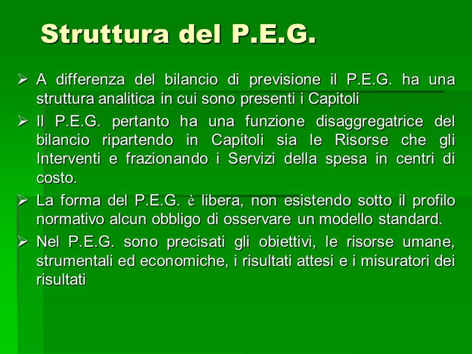 Struttura del P.E.G. A differenza del bilancio di previsione il P.E.G. ha una struttura analitica in cui sono presenti i Capitoli.