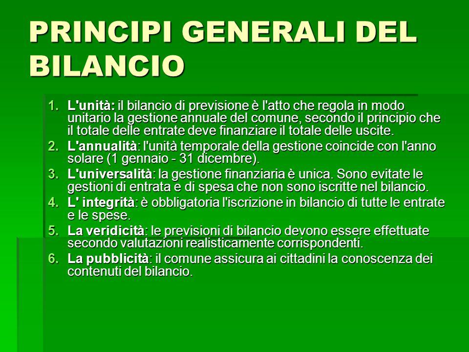 PRINCIPI GENERALI DEL BILANCIO