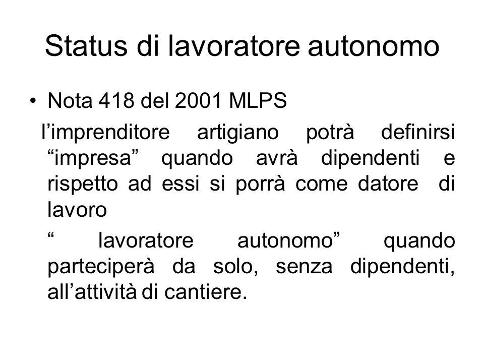Status di lavoratore autonomo