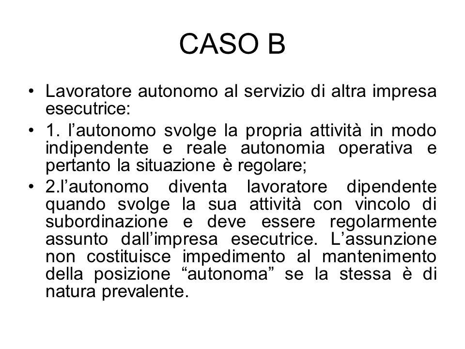 CASO B Lavoratore autonomo al servizio di altra impresa esecutrice: