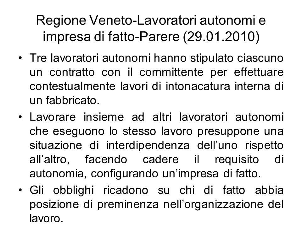 Regione Veneto-Lavoratori autonomi e impresa di fatto-Parere (29. 01